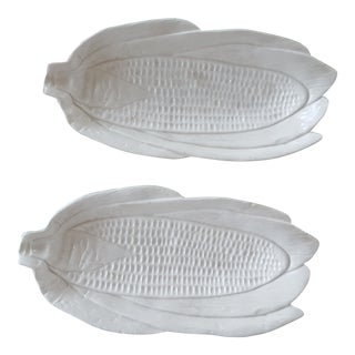 Italian White Thanksgiving Corn Cob Holders - a Pair