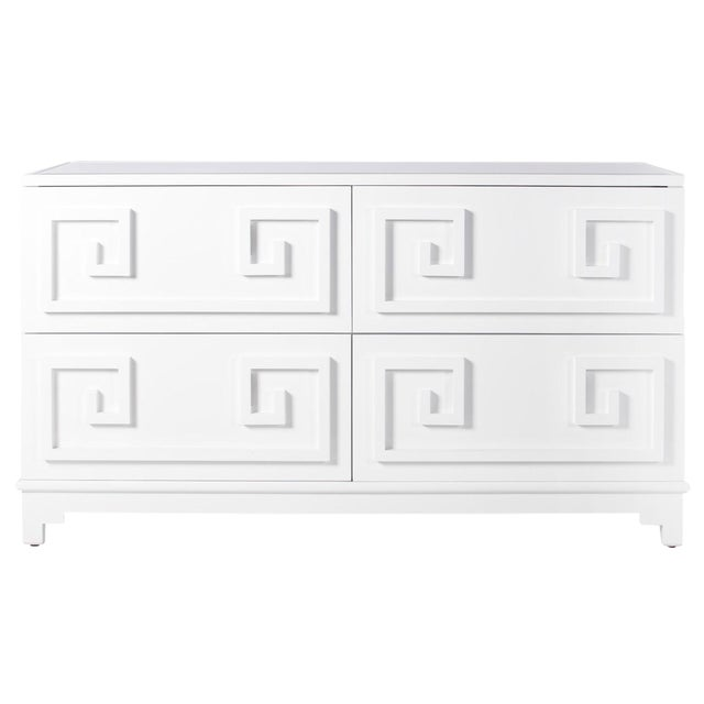 Worlds Away White Lacquer Greek Key 4-Drawer Dresser With Mirrored Top - Image 1 of 3