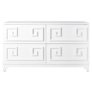 White Lacquer Greek Key 4-Drawer Dresser with Mirrored Top