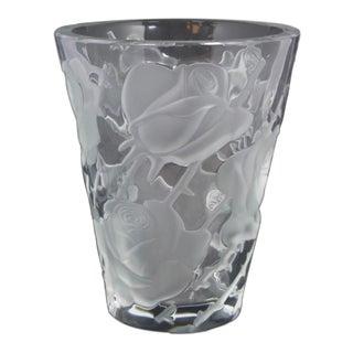 Lalique Ispahan Rose Crystal Vase