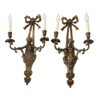 Vintage French Style Cherub Sconces - A Pair