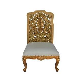 Baroque Gold Mahogany Hand Carved Royal Chair