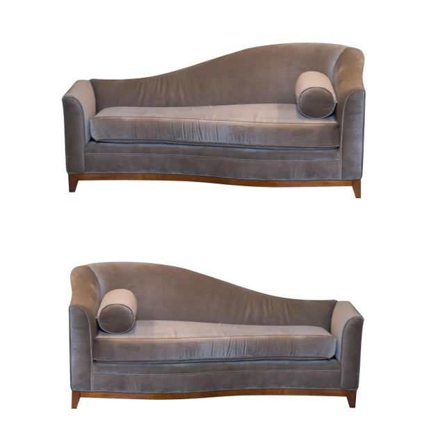 Image of Chaise Lounges in Mohair - A Pair