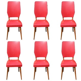 Vintage French Art Deco Walnut Dining Chairs - Set of 6