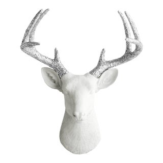 Wall Charmers Deer Head Mount in White & Silver Glitter
