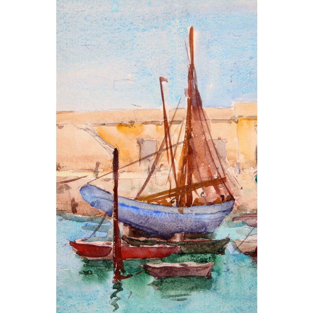 """Ships Docked, France"" Watercolor Painting - Image 2 of 2"