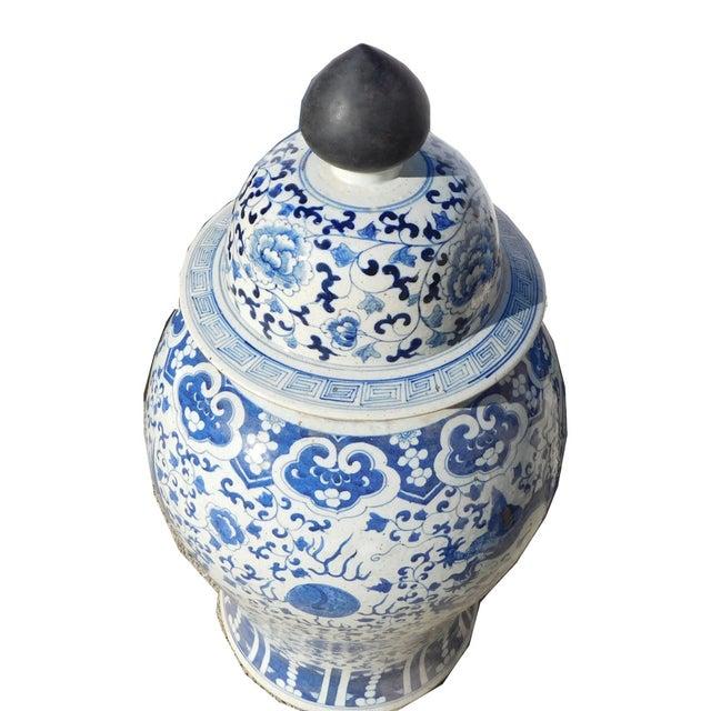 Image of Chinese Blue & White Dragon Phoenix Temple Jar