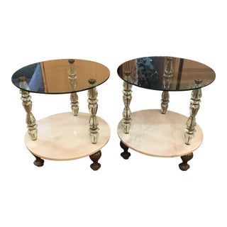 Pair of Vintage Hollywood Regency Side Accent Tables