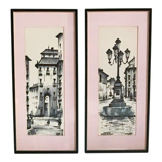 Pair, Mid Century Madrid, Spain Drawings