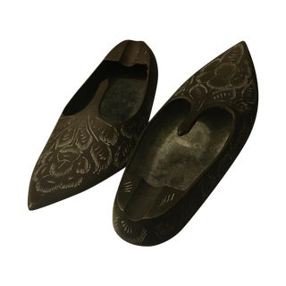 Vintage Indian Brass Slippers - Pair