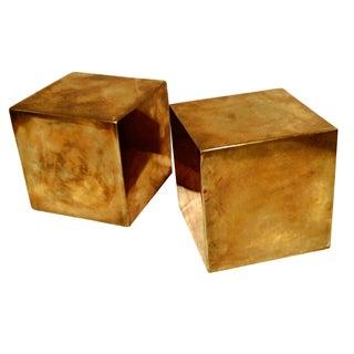 Modern Brass Cube Sculptures - A Pair