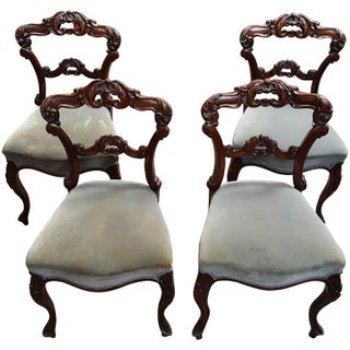 19th Century Carved Rosewood Chairs - Set of 4