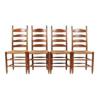19th-C. English Rush Seat Dining Chairs - S/4