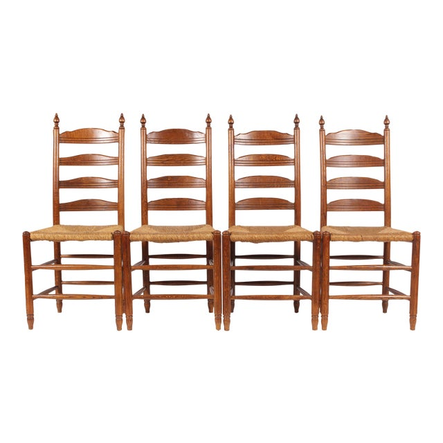 19th-C. English Rush Seat Dining Chairs - S/4 - Image 1 of 8
