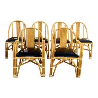 1950s Palm Beach Rattan Dining Chairs by Tropitan - Set of 6