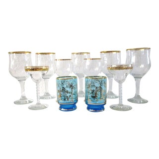 Vintage Gold Rimmed Glasses - Set of 11