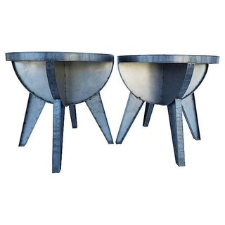 Sputnik Industrial Steel End Tables - a Pair