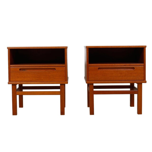 Image of Torring Danish Modern Teak Nightstands/Side Tables - a Pair