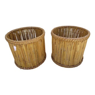 Pair of Natural Finish Bamboo Plant Containers
