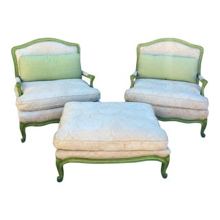 Vintage Green & White Chairs & Ottoman - Set of 3