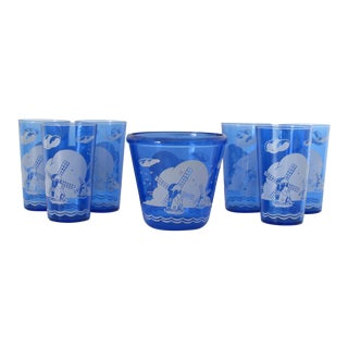 Windmill Bucket & Glasses - Set of 7