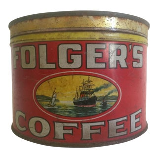 "Vintage Early 1900's ""Folgers Coffee"" Round Metal Tin Box"