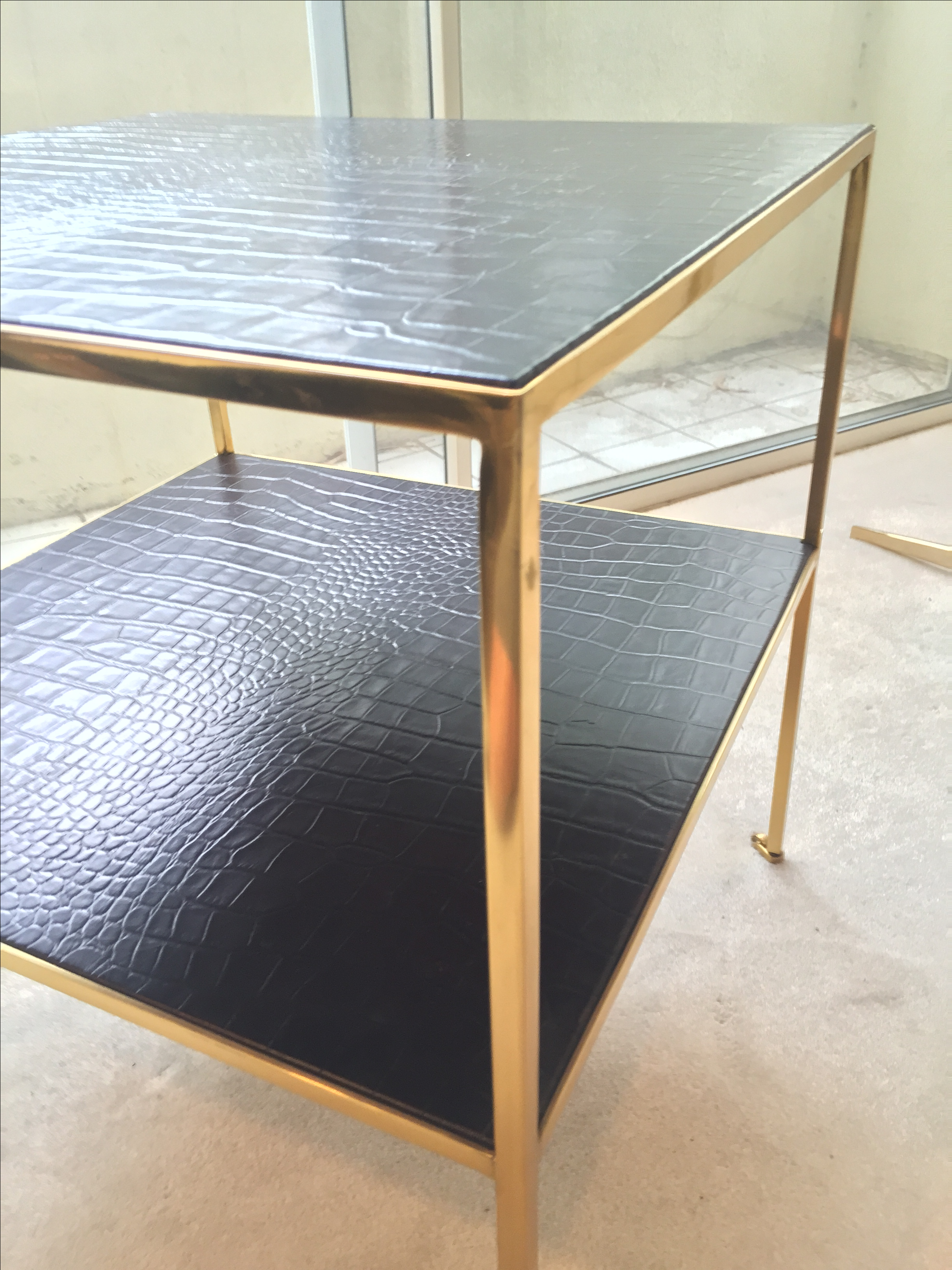 Ralph Lauren Leather U0026 Brass Rue Royale End Table   Image 6 Of 10
