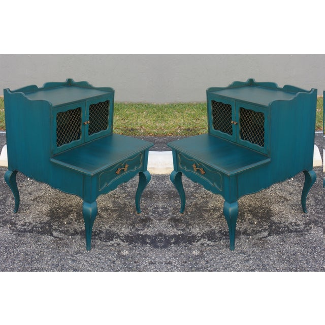 Image of Mid-Century Blue Nightstands - Pair