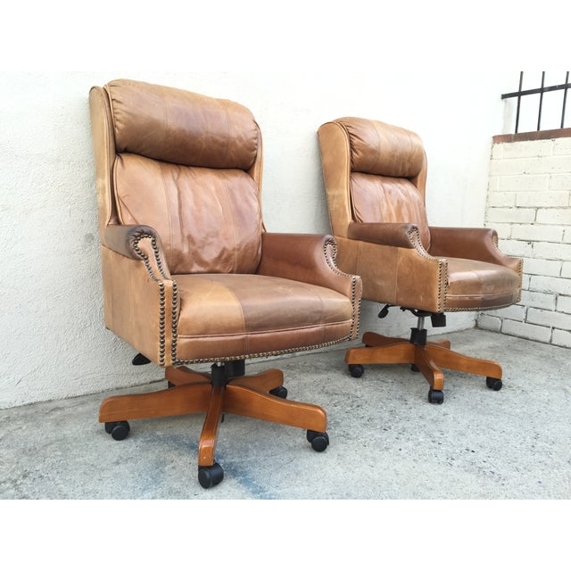 Mid-Century Italian Leather Chairs - Pair - Image 3 of 11