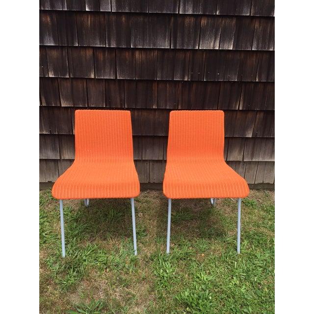 Orange Wicker & Metal Dining Chairs - Set of 8 - Image 6 of 7