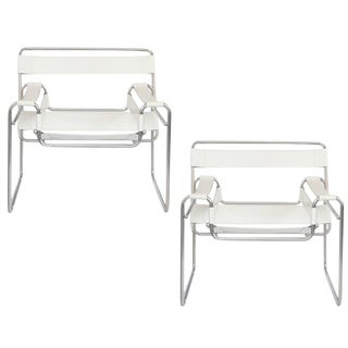 Pair of Iconic Wassily Style Chairs in White Leather and Polished Chrome