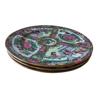 Rose Medallion Style Chinoiserie Plates - Set of 3