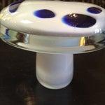 Image of Blue & White Glass Mushroom Figure