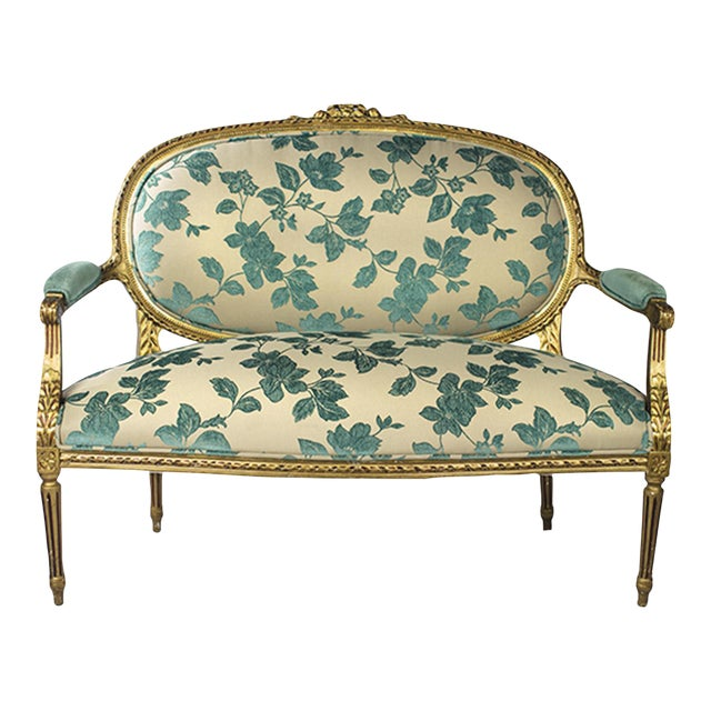 Chenille Upholstered Louis XVI Settee - Image 1 of 4
