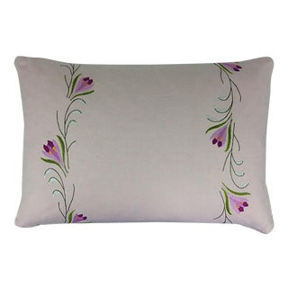English Embroidered Linen Pillow