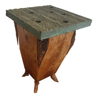 Artisan Wood & Concrete Side Table