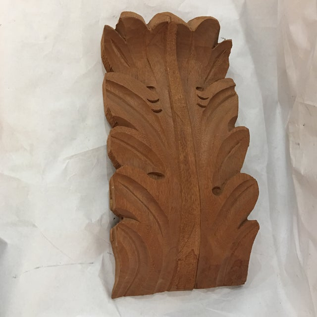 Carved teak wood acanthus leaf bracket chairish for Acanthus leaf decoration
