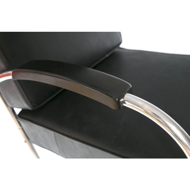 Image of Art Deco Leather & Chrome Club Chairs