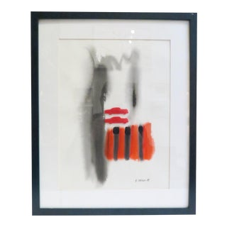 Vintage Framed Abstract Watercolor Painting