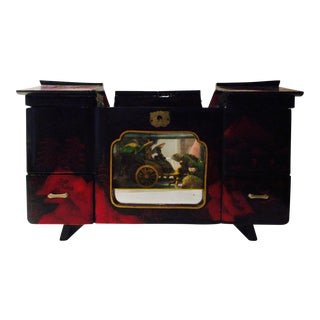 Asian Black Lacquer Jewelry Music Box
