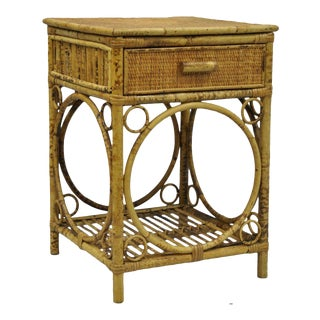 Antique Victorian Style Bamboo Rattan Wicker Nightstand / Side End Table