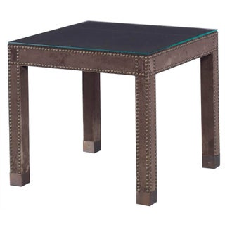 Kravet Small Leather Wrapped Parsons Table