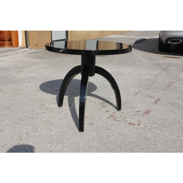 Image of French Art Deco Black Lacquer ''Spider Leg'' Side Table