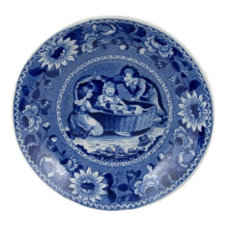 R&J Clews Blue Transferware Bowl, Family Dog in a Cradle
