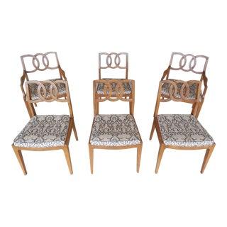 John Stuart Mid-Century Hollywood Regency Walnut Chairs - Set of 6