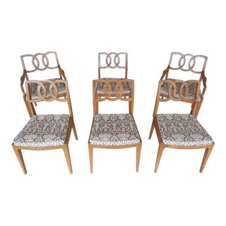 John Stuart Mid-Century Hollywood Regency Walnut Chairs - Set of 6