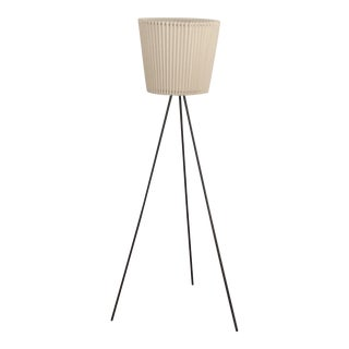 Elegant Iron and Linen Tripod Floor Lamp