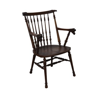 Antique Horner Bros Solid Oak Serpent Arm Chair