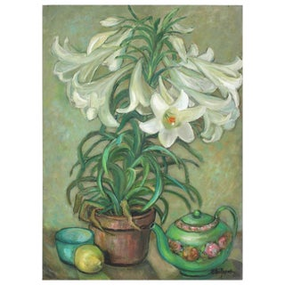 Vase of Lilies & Teapot Still Life Painting