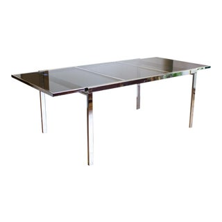 Milo Baughman Parson Style Extending Dining Table, Chrome and Smoked Glass